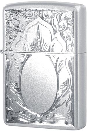 21137 Зажигалка Zippo Scrolled Mirror, Satin Chrome