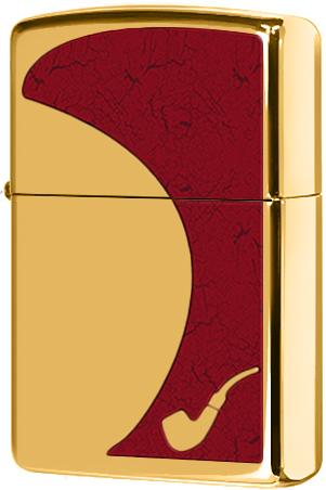28322 Зажигалка Zippo Red Pipe, Polish Brass