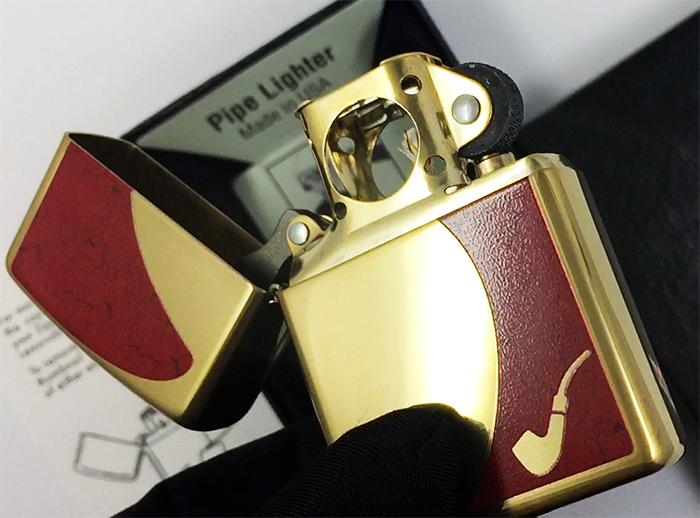28322 Зажигалка Zippo Red Pipe, Polish Brass зиппо для трубок