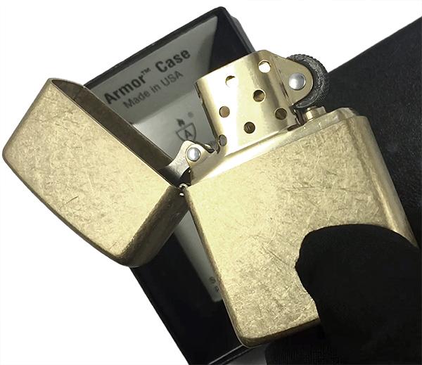 28496 Зажигалка Zippo Armor, Tumbled Brass