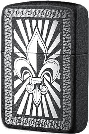 28582 Зажигалка Zippo Fleur De Lis (custom), Black Crackle