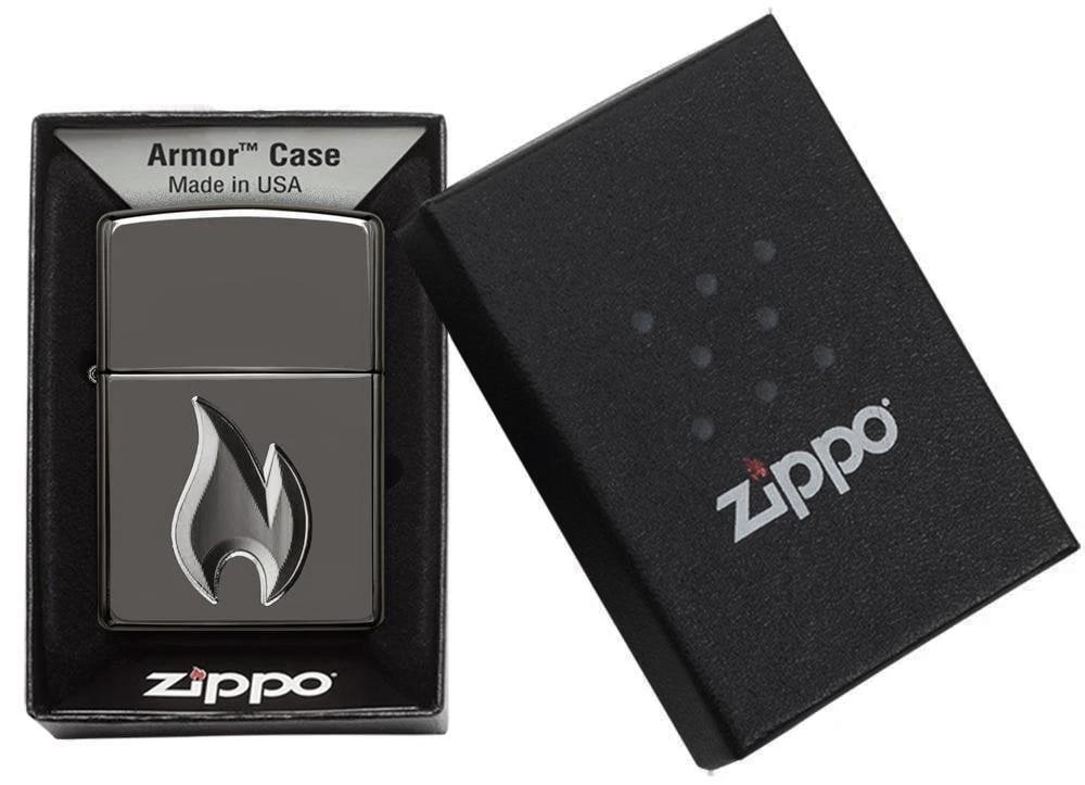 29928 Зажигалка Zippo Flame Design, Armor Black Ice упаковка