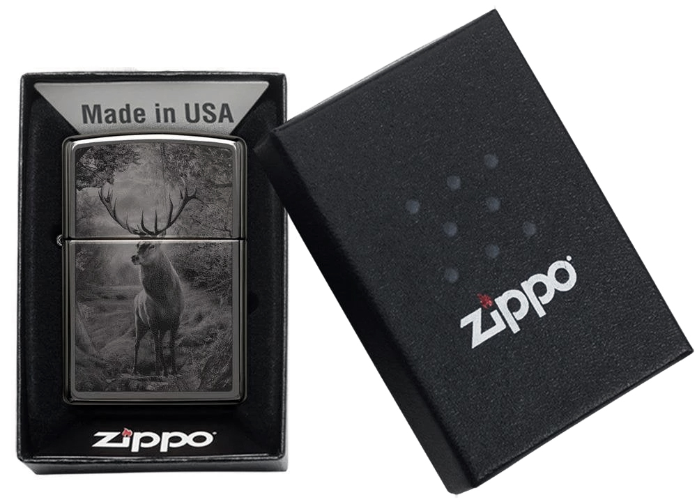 49059 Зажигалка Zippo Deer Design, Black Ice