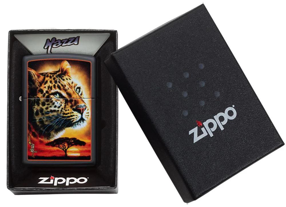 49068 Зажигалка Zippo Mazzi African Leopard, Black Matte