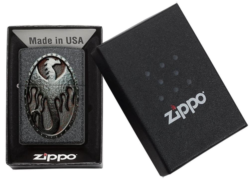 49072 Зажигалка Zippo Metal Dragon Shield Design, Iron Stone