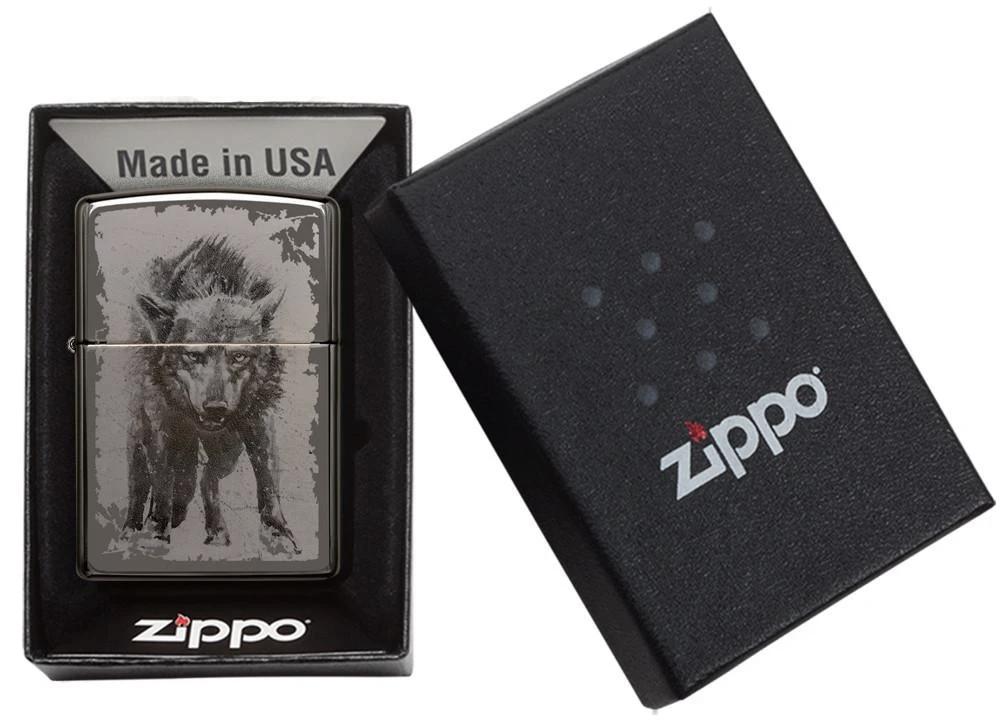 49073 Зажигалка Zippo Wolf Design, Black Ice