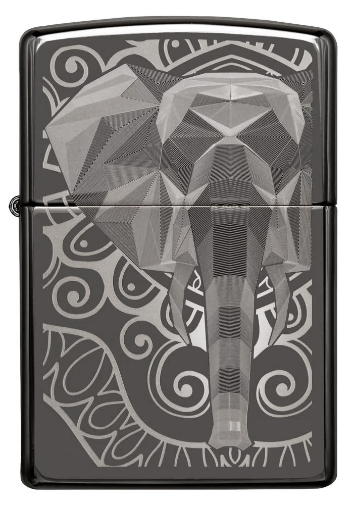 49074 Зажигалка Zippo Elephant Fancy Fill Design, Black Ice
