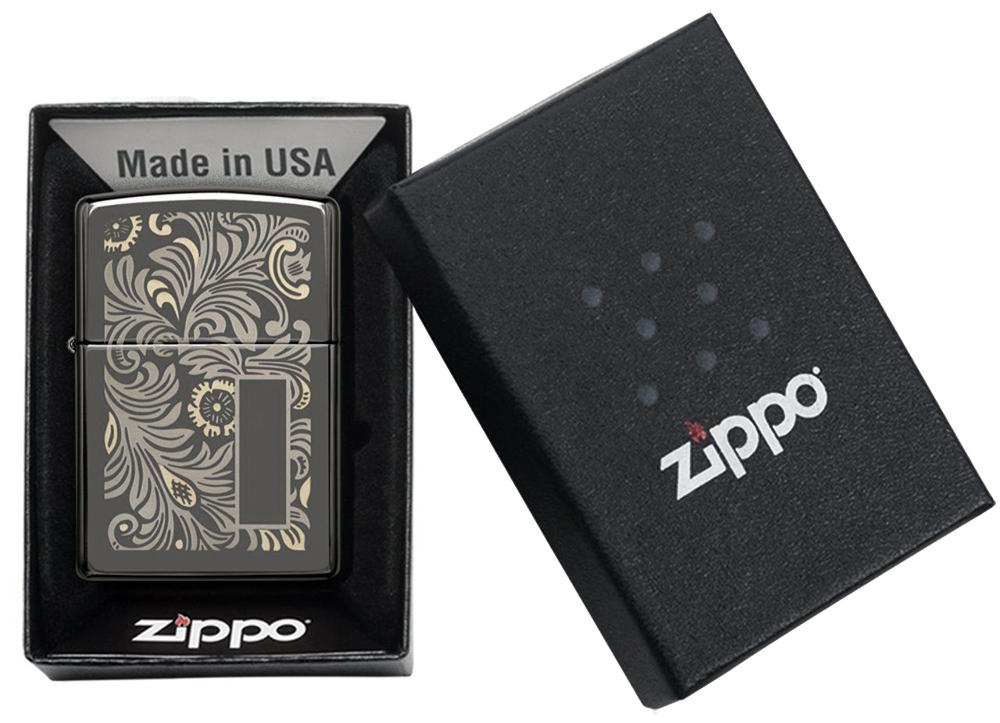 49162 Зажигалка Zippo Luxury Venetian, Black Ice