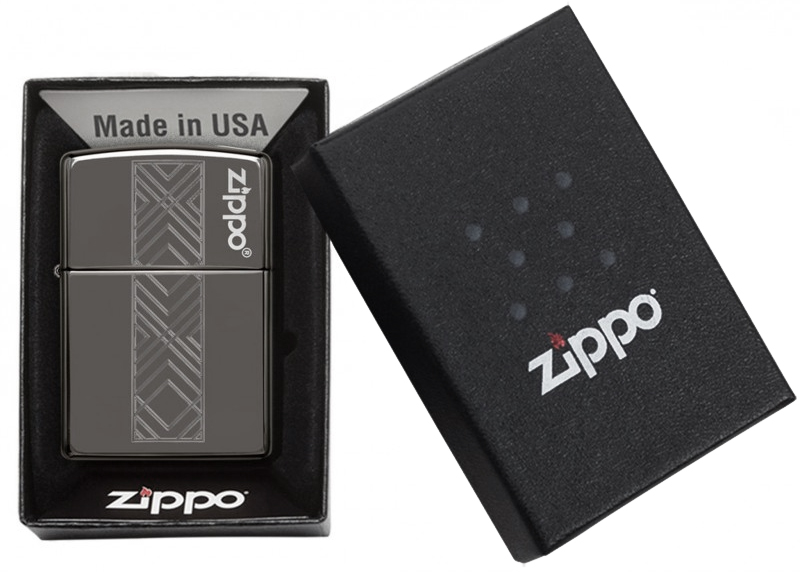 49163 Зажигалка Zippo Geometric Pattern Logo, Black Ice