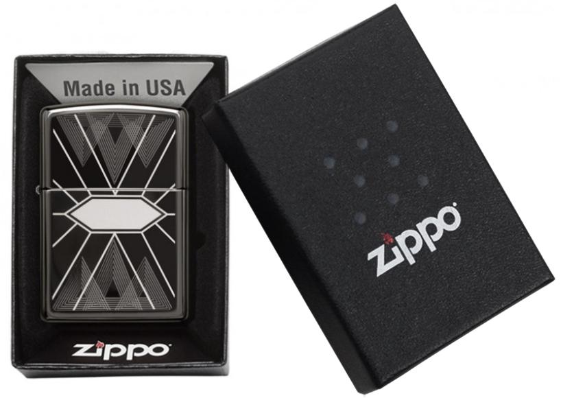 49164 Зажигалка Zippo Triangles Geometry, Black Ice