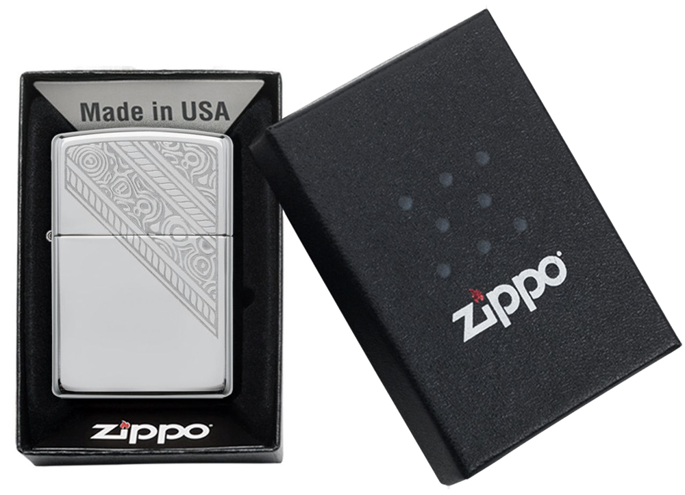 49165 Зажигалка Zippo Lace, High Polish Chrome упаковка