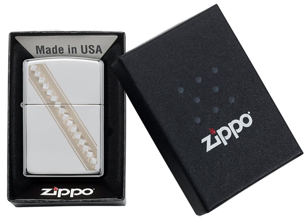 49168 Зажигалка Zippo Ribbon Diamonds, Polish Chrome упаковка