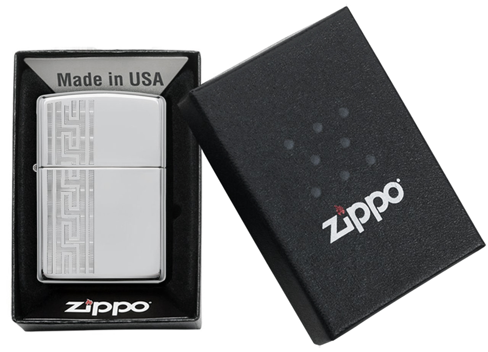49170 Зажигалка Zippo Greek Pattern, High Polish Chrome упаковка