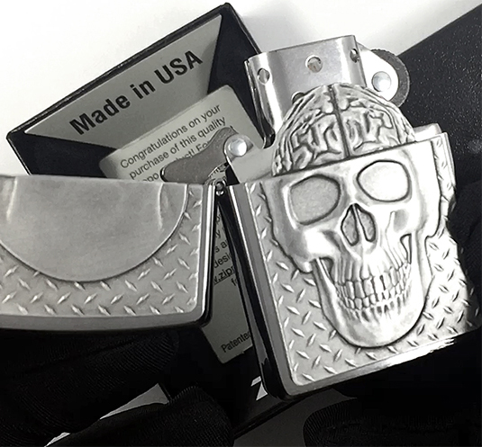 29818 Зажигалка Zippo Skull with Brain Surprise, Brushed Chrome