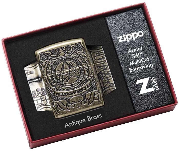 29561 Зажигалка ZIppo Armor Multicut Occult Design, Antique Brass Некрономикон Necronomicon