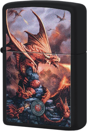 49097 Зажигалка Zippo Anne Stokes Red Dragon, Black Matte