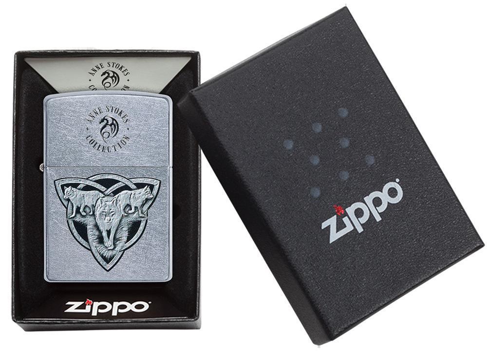 49099 Зажигалка Zippo Triquetr Wolves Anne Stokes, Street Chrome