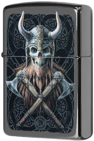 49106 Зажигалка Zippo Anne Stokes Skeleton Viking, Black Ice