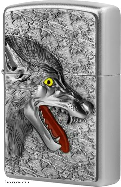 2003971 Зажигалка Zippo Wolf 2013 Emblem, Satin Chrome