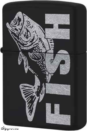 218C Зажигалка Zippo Fish, Black Matte