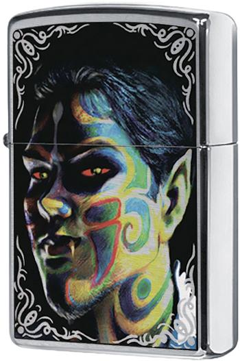 24403 Зажигалка Zippo Face Painting, Brushed Chrome
