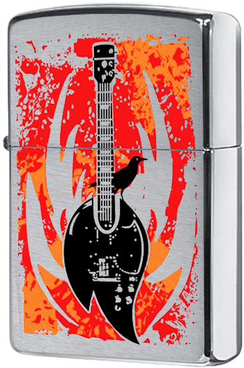 24535 Зажигалка Zippo Flaming Guitar, Brushed Chrome