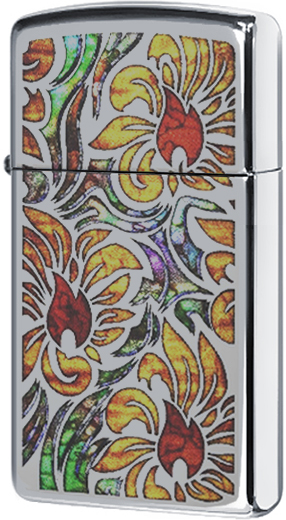 29702 Зажигалка Zippo Fusion Floral Design, Slim Polish Chrome