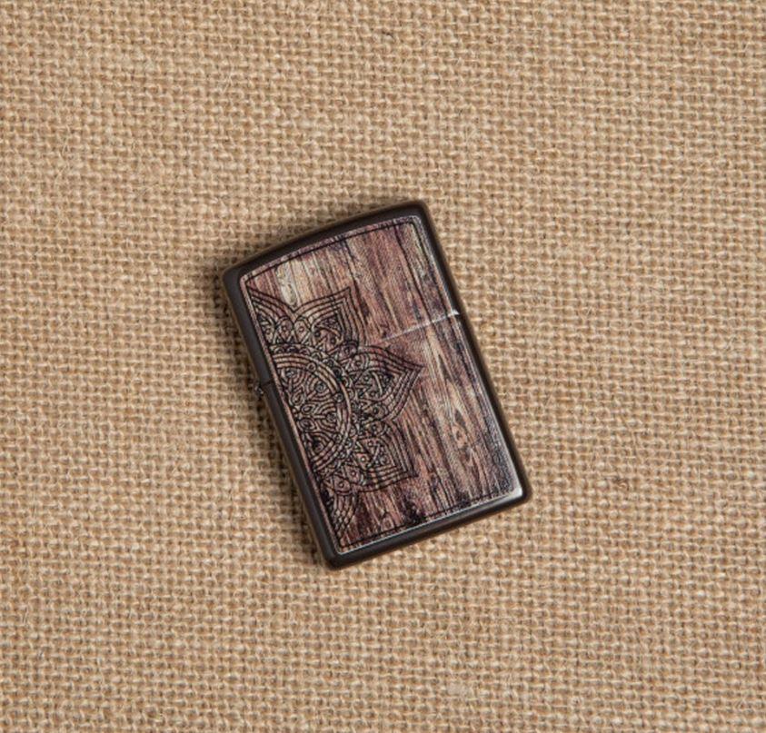 49184 Зажигалка Zippo Wood Mandala Design Brown
