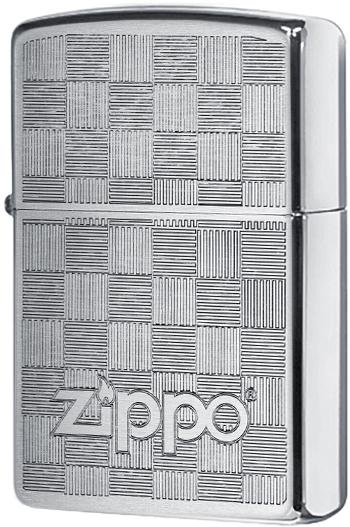 49205 Зажигалка Zippo Logo Chessboard Weave, Brushed Chrome