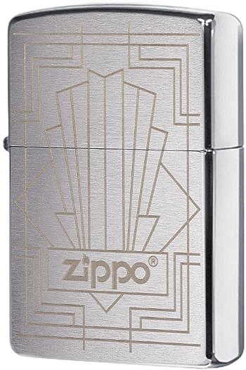 49206 Зажигалка Zippo Vintage Art Deco, Brushed Chrome