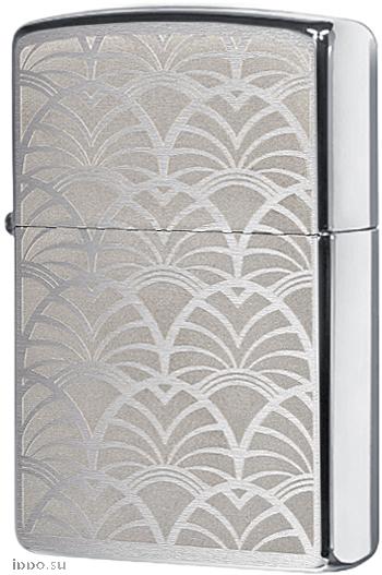 49207 Зажигалка Zippo Scale Art Deco, Brushed Chrome