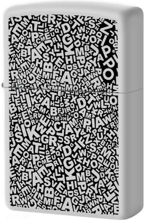 49213 Зажигалка Zippo Chaos of Letters, White Matte