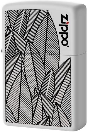 49214 Зажигалка Zippo Logo Jungle, White Matte