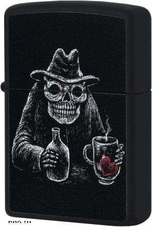 49254 Зажигалка Zippo Bar Skull, Black Matte — zippo.su