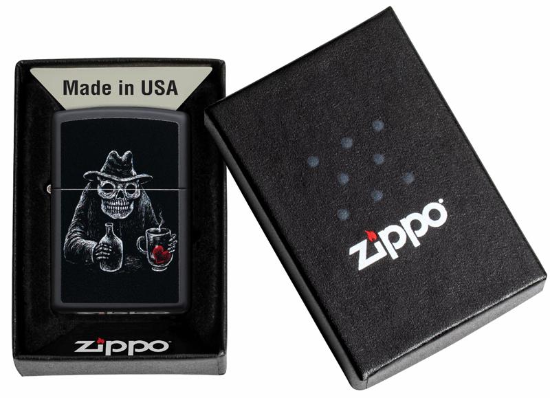 49254 Зажигалка Zippo Bar Skull, Black Matte