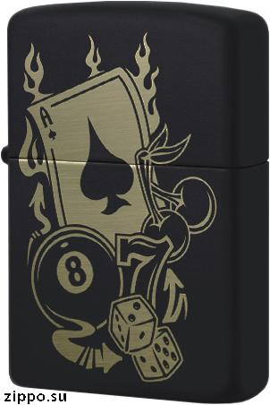 49257 Зажигалка Zippo Gambling, Black Matte