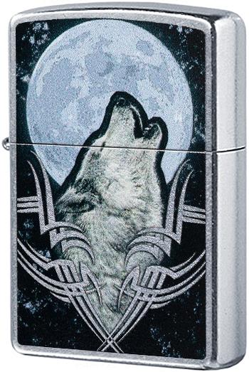 49261 Зажигалка Zippo Howling Wolf, Street Chrome — zippo.su
