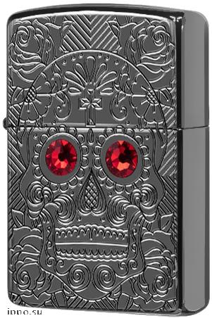 49300 Зажигалка Zippo Crystal Skull, Armor Black Ice — zippo.su