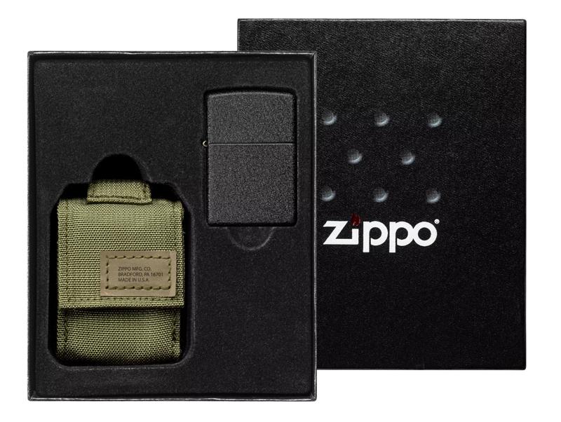 49400 Подарочный набор Zippo Tactical Pouch and Black Crackle Windproof Lighter — zippo.su