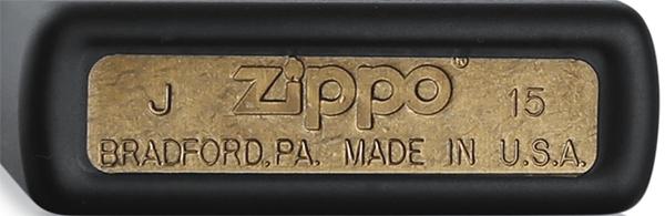 218 Зажигалка Zippo Plain, Black Matte — донышко открытая латунь