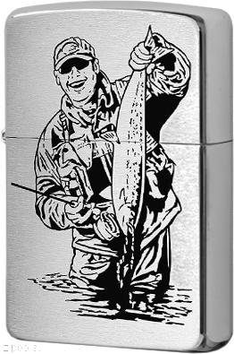 200 Fisherman Black Зажигалка Zippo, Brushed Chrome