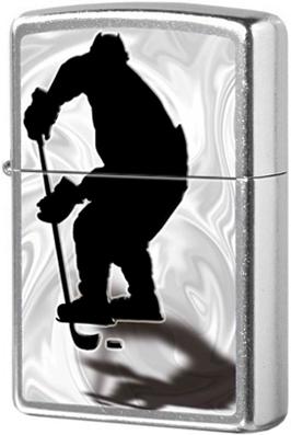 207 Hockey Зажигалка Zippo Хоккеист, Street Chrome