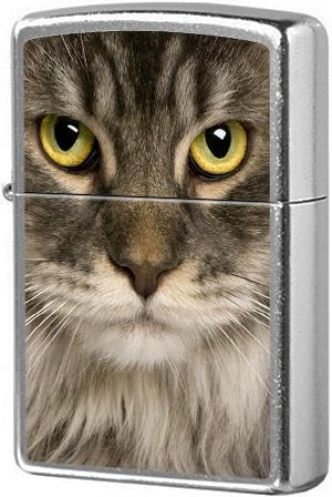 207 Зажигалка Zippo Maine Coon Cat, Street Chrome