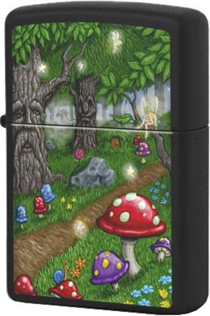 218 Зажигалка Zippo Fairy Land-Woods, Black Matte