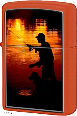 231 Fishing Зажигалка Zippo Ночная рыбалка, Orange Matte