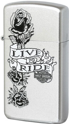 24008 Зажигалка slim Zippo HD Live To Ride, Satin Chrome
