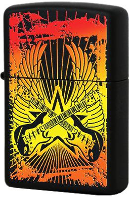 24891 Зажигалка Zippo Guitar Wings, Black Matte
