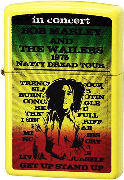 24993 Зажигалка Zippo Bob Marley 1976 Tour, Lemon Matte