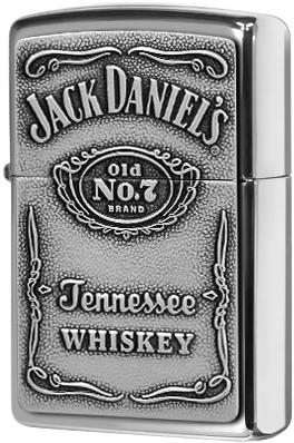 250JD.427 Зажигалка Zippo Jack Daniel's Label Pewter Emblem, Polish Chrome