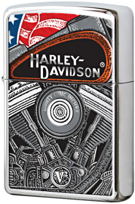 28081 Зажигалка Zippo Harley Davidson, Polish Chrome